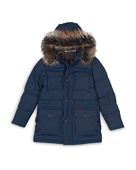 Barbour - Boys' Morton Quilted Faux Fur Trim Hooded Parka - Big Kid