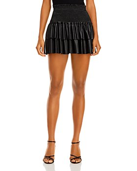 AQUA - Faux Leather Smocked Mini Skirt - 100% Exclusive