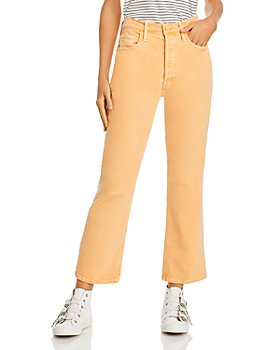 MOTHER - The Tripper Frayed-Hem Ankle Bootcut Jeans in Apricot Nectar