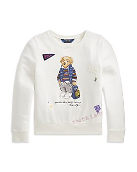 Ralph Lauren - Girls' Bear French Terry Sweatshirt - Little Kid, Big Kid