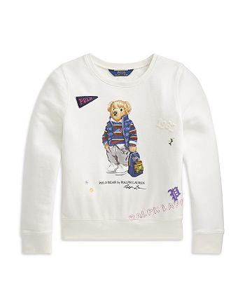 Ralph Lauren - Girls' Bear French Terry Sweatshirt - Little Kid, Big Kid