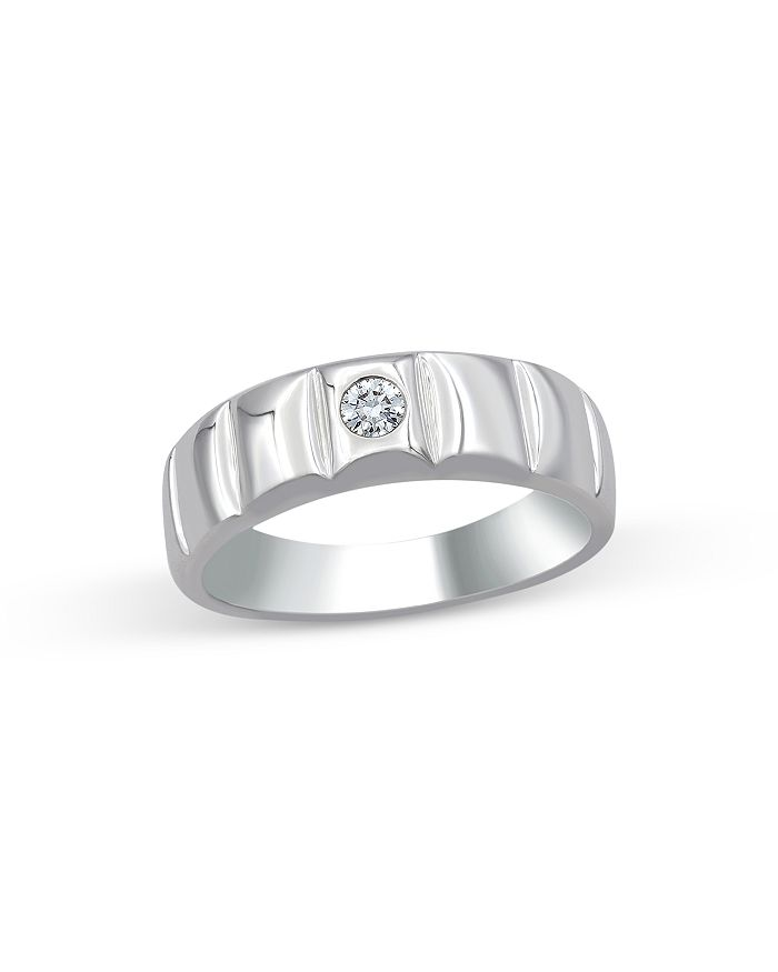Bloomingdale's - Men's Diamond Single Stone Band Ring in 14K White Gold, 0.10 ct. t.w. - 100% Exclusive