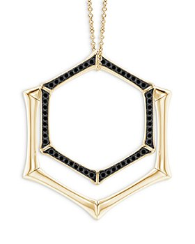 Natori - 14K Yellow Gold Black Diamond Double Hexagon Pendant Necklace, 17""