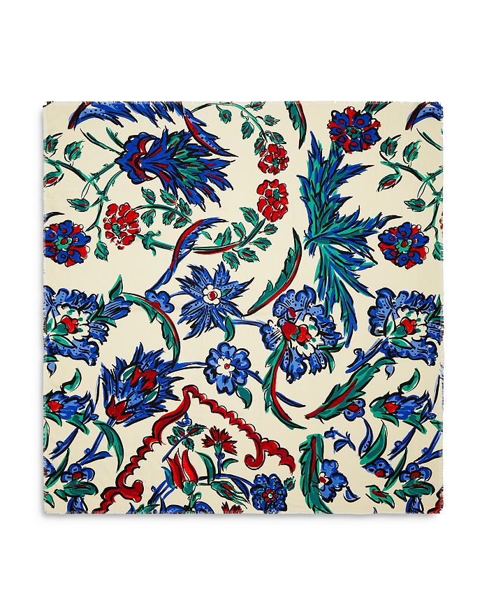 Tory Burch - Porcelain Thistle Wool & Silk Scarf