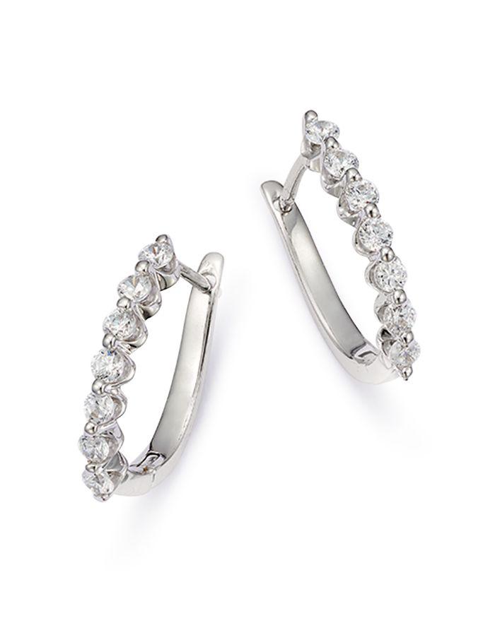 Bloomingdale's Diamond Huggie Hoop Earrings in 14K White Gold, 0.50 ct. t.w. - 100% Exclusive  | Bloomingdale's