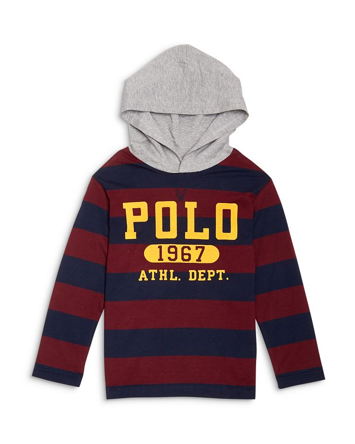 Ralph Lauren - Boys' Rugby Stripe Logo Hoodie Tee - Little Kid, Big Kid