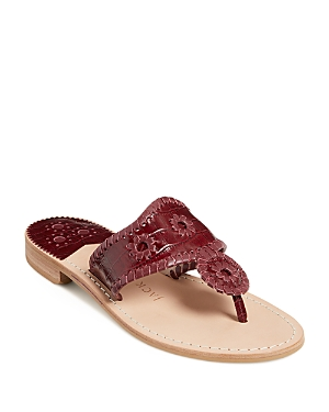 Jack Rogers WOMEN'S JACKS CROC EMBOSSED LEATHER THONG SANDALS