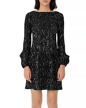 Maje - Rocketa Lurex Pleated Shift Dress