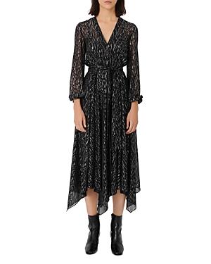 Maje Rimix Metallic Scarf Hem Midi Dress-Women