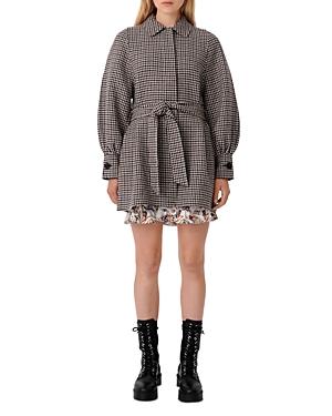Maje Galico Houndstooth Belted Coat-Women