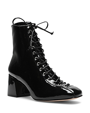 Schutz Women\\\'s New Kika Lace Up Patent Leather Booties