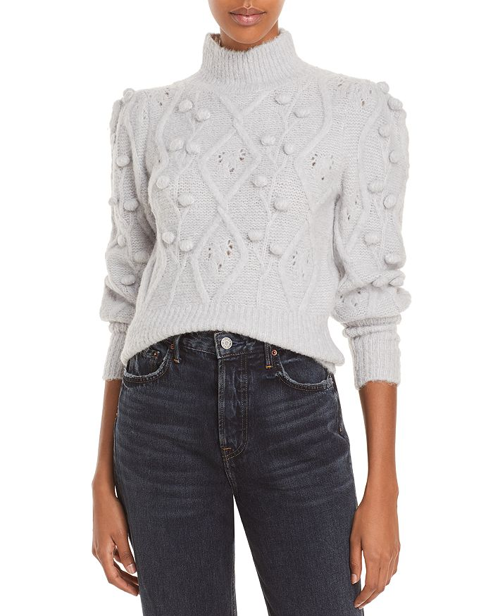 AQUA - Cable Popcorn Balloon Sleeve Sweater - 100% Exclusive