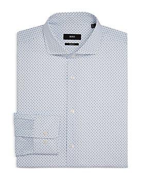 BOSS - Men's Mark US Cotton Micro Dot Slim Fit Dress Shirt