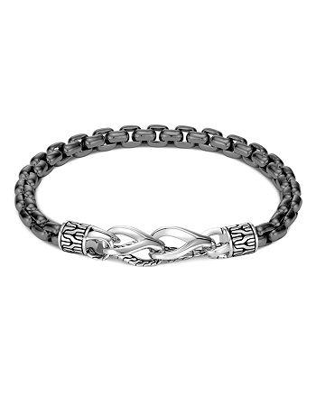 JOHN HARDY - Men's Silver & Black Rhodium Classic Box Chain Bracelet