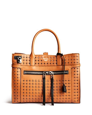 Zadig & Voltaire CANDIDE LARGE PERFORATED LEATHER SATCHEL