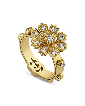Gucci - 18K Yellow Gold Flora Diamond Flower Ring