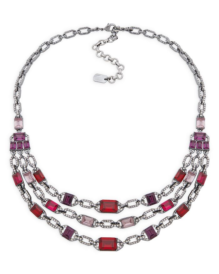 "Ralph Lauren - Pavé & Multicolor Stone Multi Row Necklace in Hematite Tone, 16""-19"""
