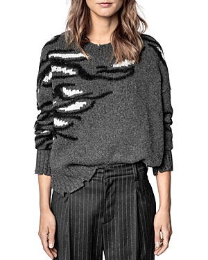 Zadig & Voltaire STARRY INTARSIA DISTRESSED SWEATER