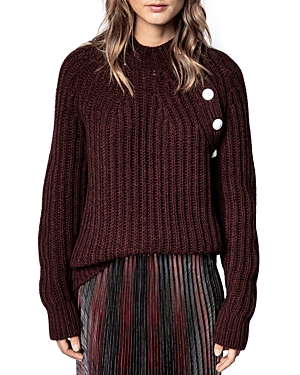 Zadig & Voltaire COLEEN BUTTONED RIBBED KNIT SWEATER