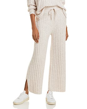 AQUA - Ribbed Wide Leg Slit Pants - 100% Exclusive
