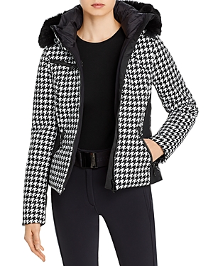 Kate Houndstooth Hooded Down Jacket