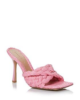 Bottega Veneta - Women's Square Toe Woven Leather High Heel Sandals