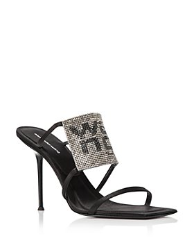 Alexander Wang - Women's Julie Square Toe Rhinestone Logo High Heel Sandals