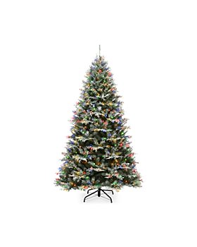 National Tree Company - 7.5 ft. Snowy Stonington Fir Tree with Dual Color Lights