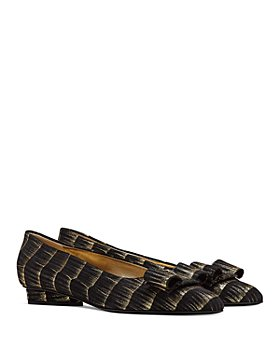 Salvatore Ferragamo - Women's Pointed Toe Painted Leather Slip On Flats
