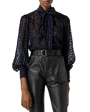 The Kooples Burnout Bow Front Velvet Top-Women