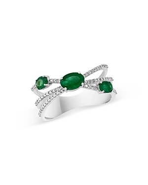 Bloomingdale's Emerald & Diamond Crossover Ring in 14K White Gold - 100% Exclusive