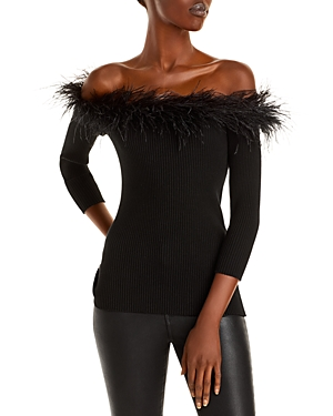 MILLY FEATHER TRIM OFF-THE-SHOULDER TOP