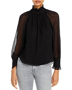 Rebecca Taylor - Sheer Sleeve Mock Neck Top