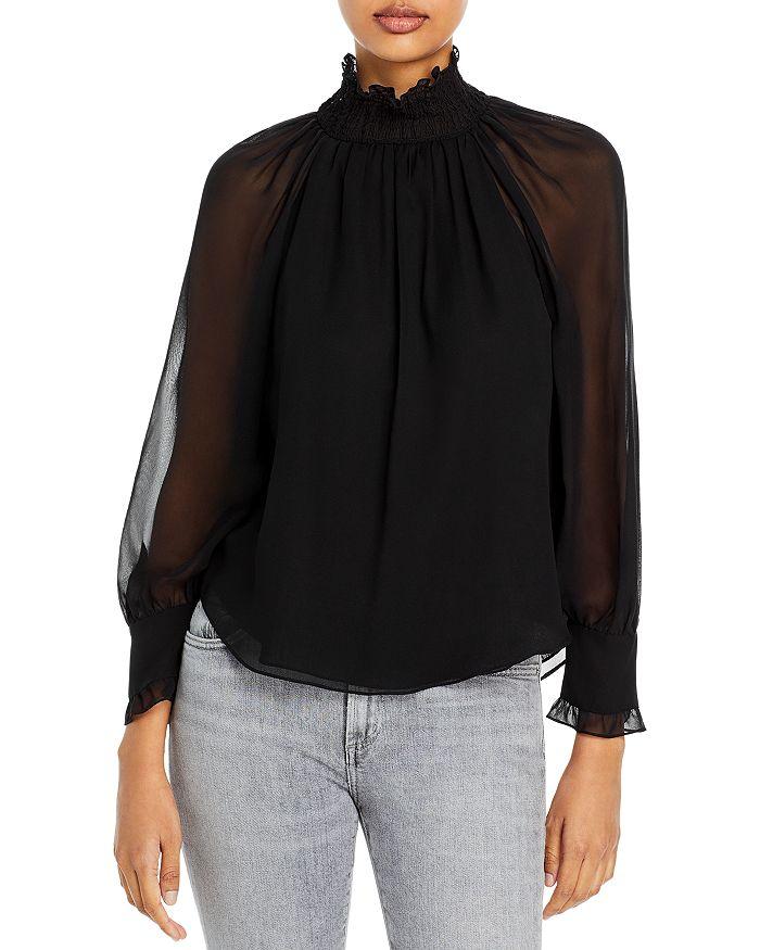 Rebecca Taylor - Sheer Sleeve Mock Neck Top