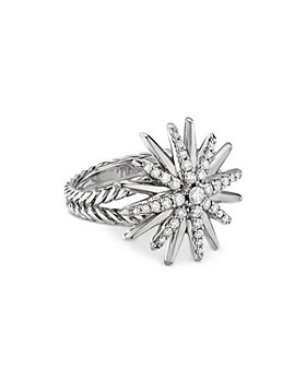 David Yurman - Sterling Silver Starburst Ring with Diamonds
