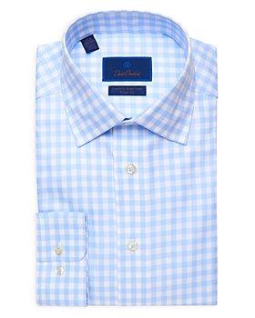 David Donahue - Gingham Trim Fit Dress Shirt