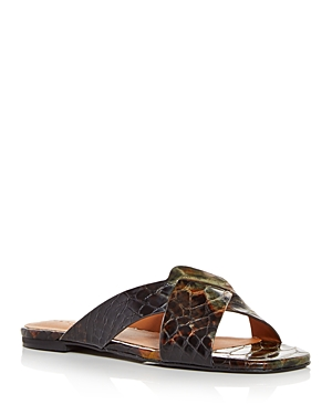 Clergerie WOMEN'S ISSYS SNAKE-EMBOSSED SLIDE SANDALS