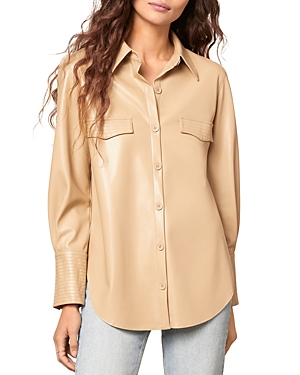 x Steve Madden West Intentions Faux Leather Shirt