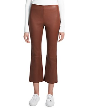 Theory - Leather Cropped Kick Flare Pants