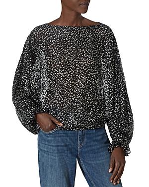 Joie Nylah Sheer Leopard Print Top