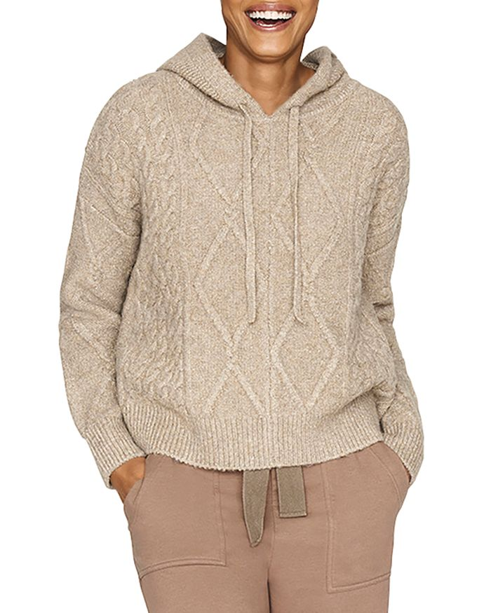 b new york - Recycled Cropped Cable Knit Hoodie
