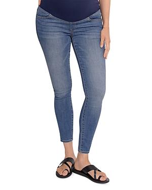 Maternity Crossover Panel Skinny Jeans in Medium Wash