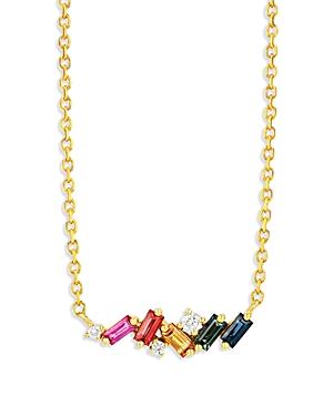 Suzanne Kalan 18K Yellow Gold Rainbow Sapphire & Diamond Mixed Mini Bar Necklace, 18L