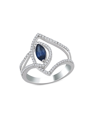 Bloomingdale's Marquis Cut Sapphire & Diamond Statement Ring in 14K White Gold - 100% Exclusive
