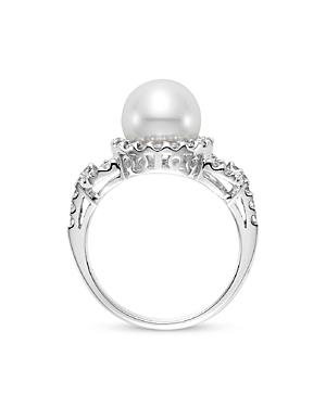 Mastolini 18K White Gold Cultured Freshwater Pearl & Diamond Link Ring