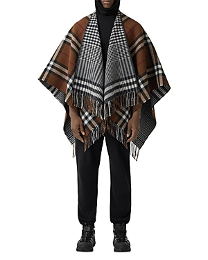 BURBERRY REVERSIBLE LEATHER-TRIMMED WOOL CAPE