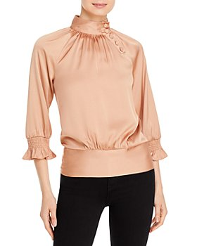 KARL LAGERFELD PARIS - Mock Neck Three Quarter Sleeve Top