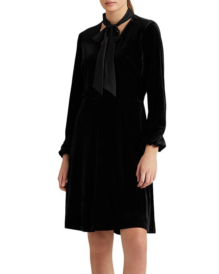 Ralph Lauren - Velvet Dress With Satin Necktie