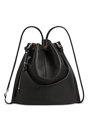 Allsaints LEAR SMALL DRAWSTRING LEATHER BACKPACK