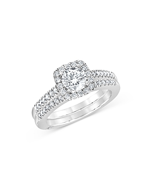 Bloomingdale's Diamond Halo Engagement Ring & Band Set in 18K White Gold, 1.30 ct. t.w. - 100% Exclu